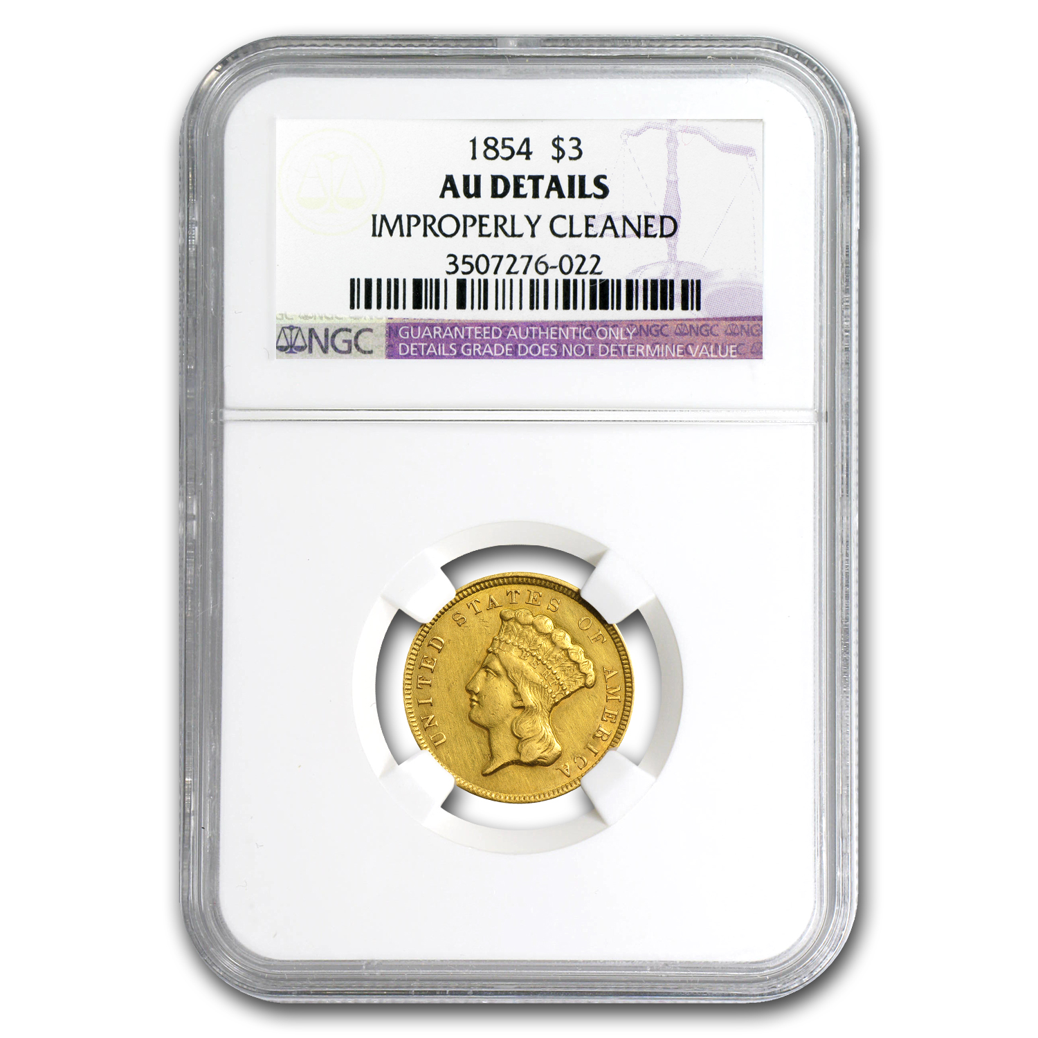 1854 $3 Gold Princess AU Details NGC (Improperly Cleaned)