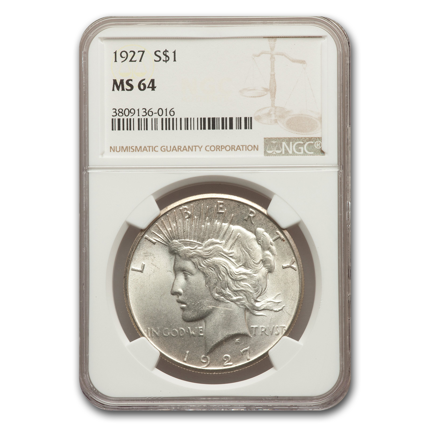 1927 Peace Dollar MS-64 NGC