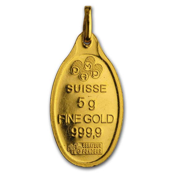 5 gram Gold Oval Pendant - Pamp Suisse Fortuna (w/out Assay)