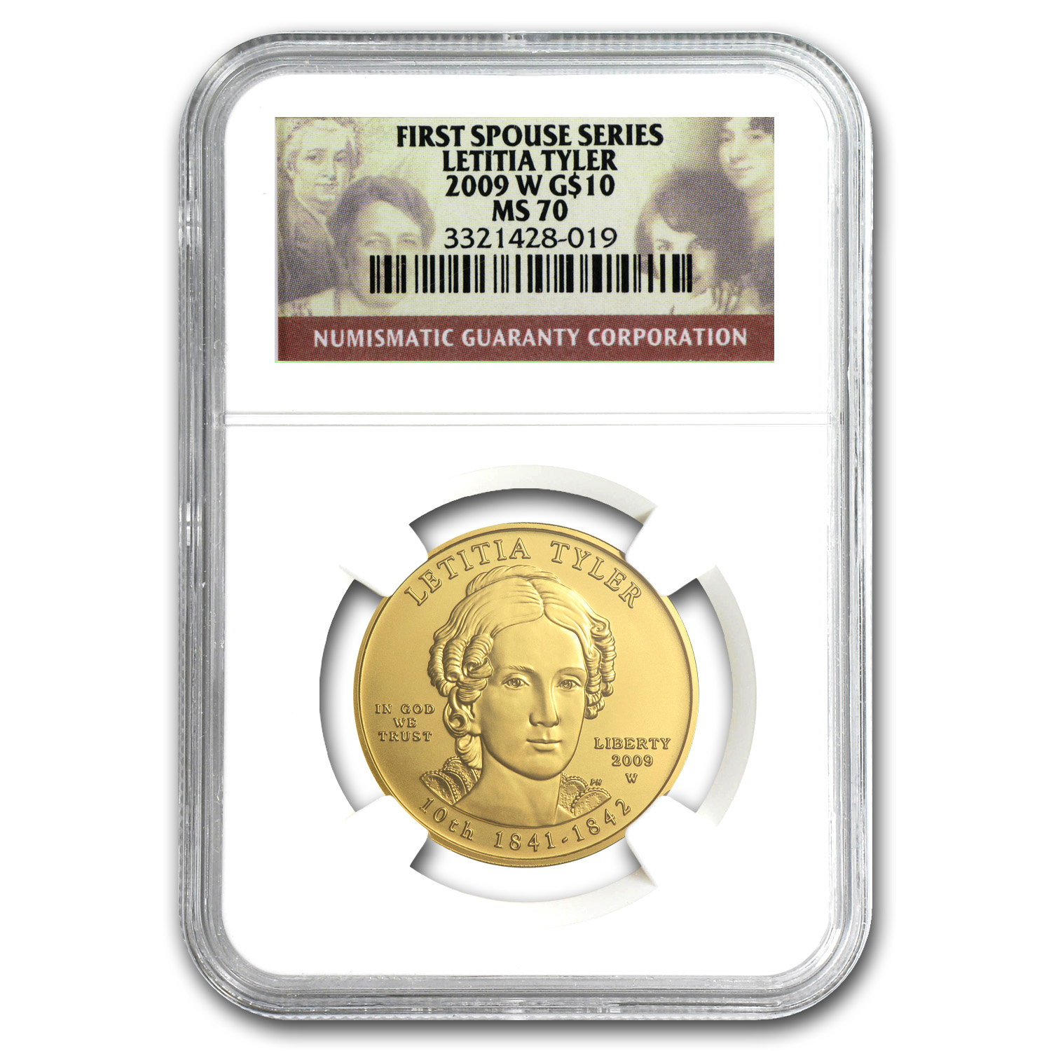 2009-W 1/2 oz Gold Letitia Tyler MS-70 NGC