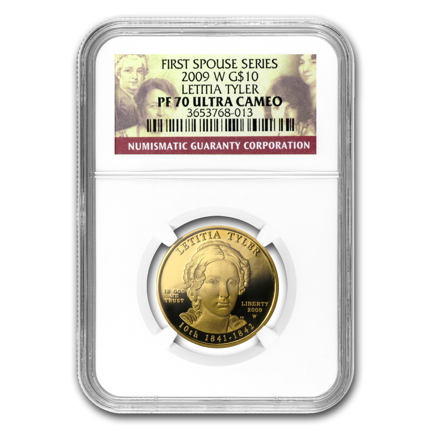2009-W 1/2 oz Proof Gold Letitia Tyler PF-70 NGC UCAM