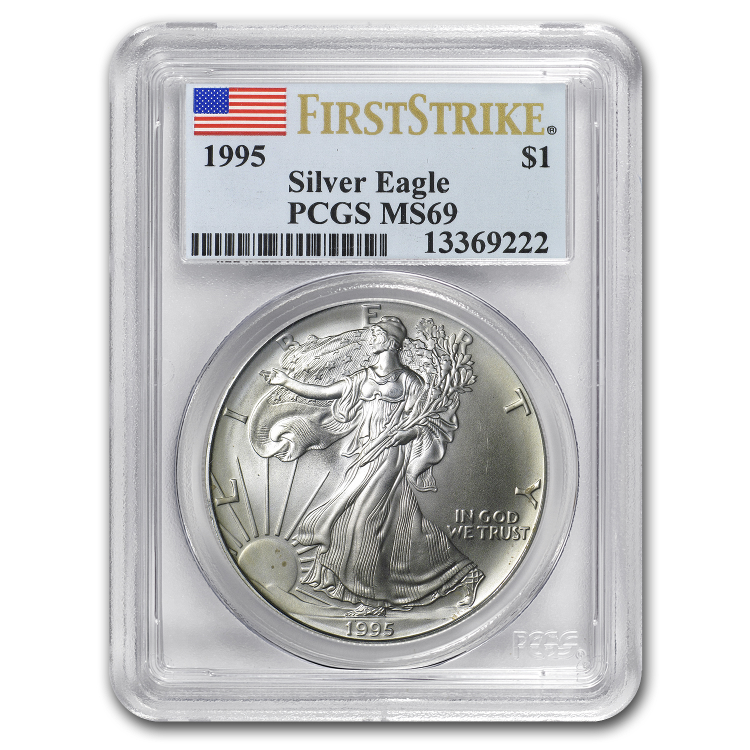 1995 Silver American Eagle MS-69 PCGS (First Strike)
