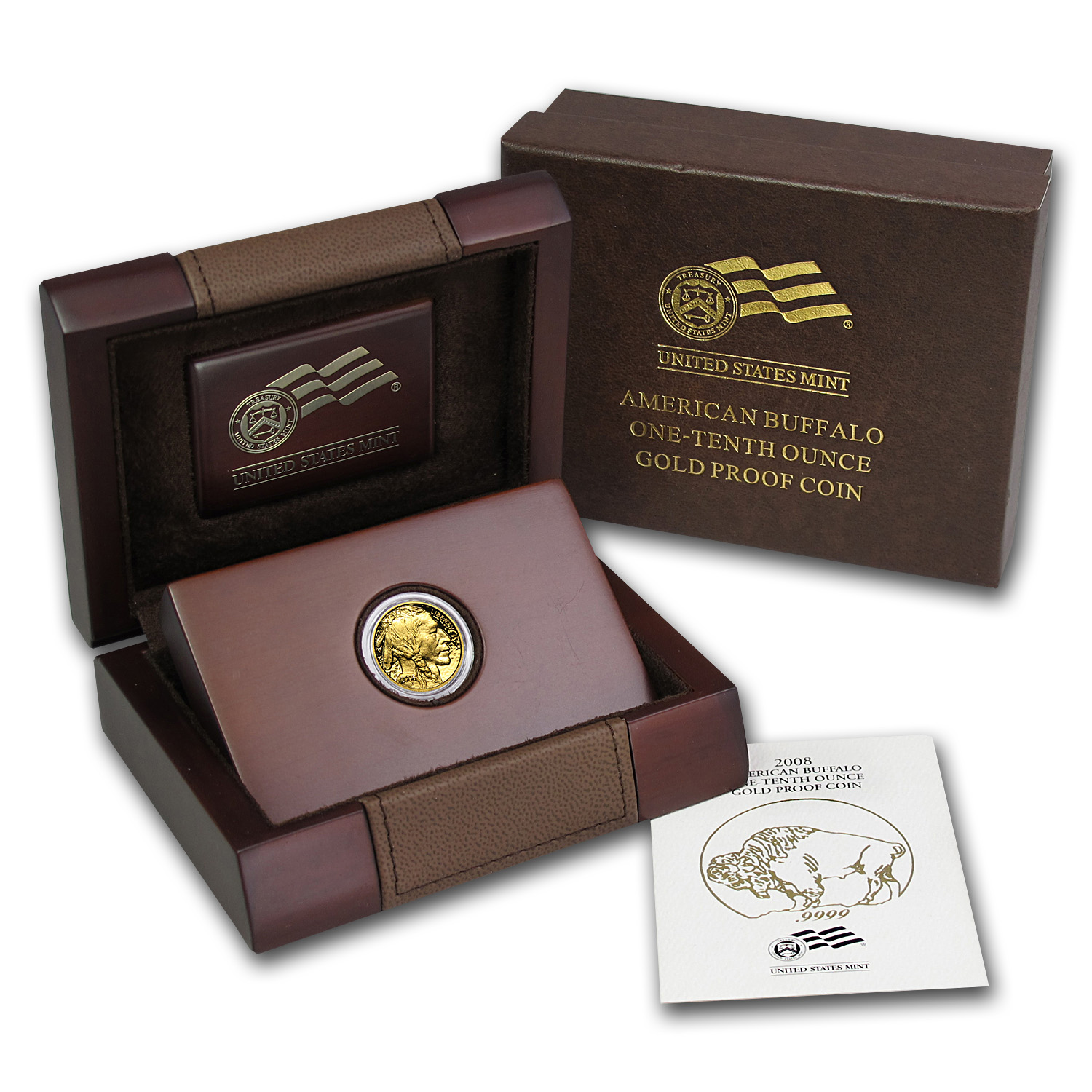 2008-W 1/10 oz Proof Gold Buffalo (w/Box & COA)