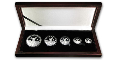 2010 Mexico 5-Coin Silver Libertad Proof Set (1.9 oz, Wood Box)