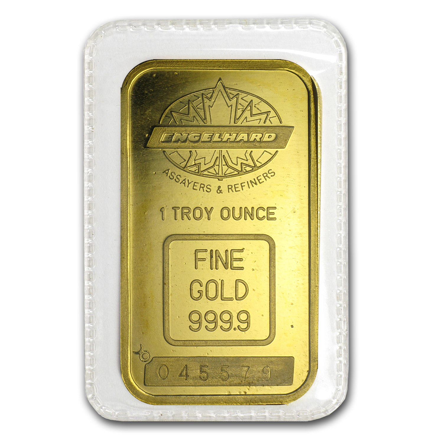 1 oz Gold Bar - Engelhard (Tall, Maple Design, Smooth, Border)