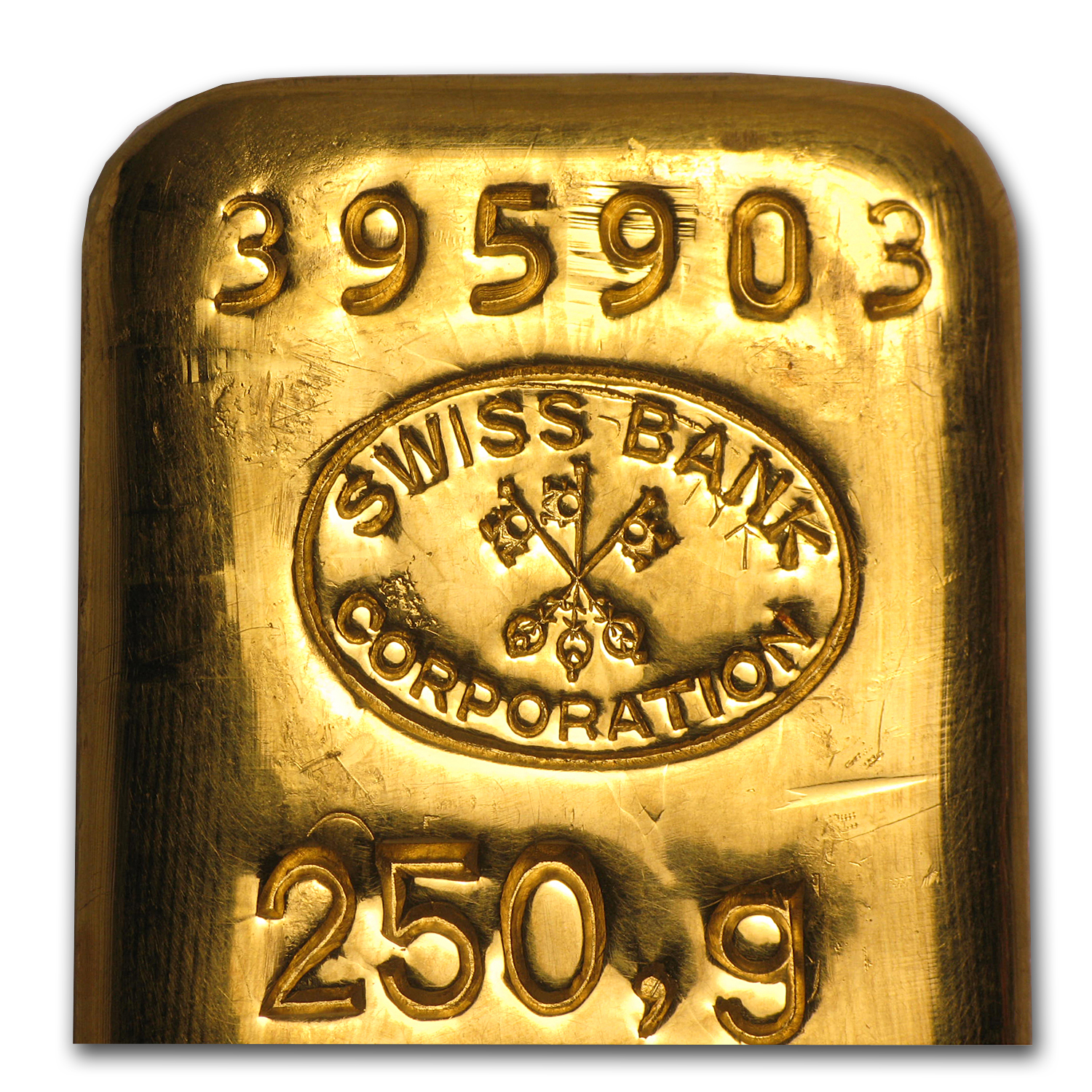 250 gram Swiss Bank Corporation Gold Bar .9999 Fine
