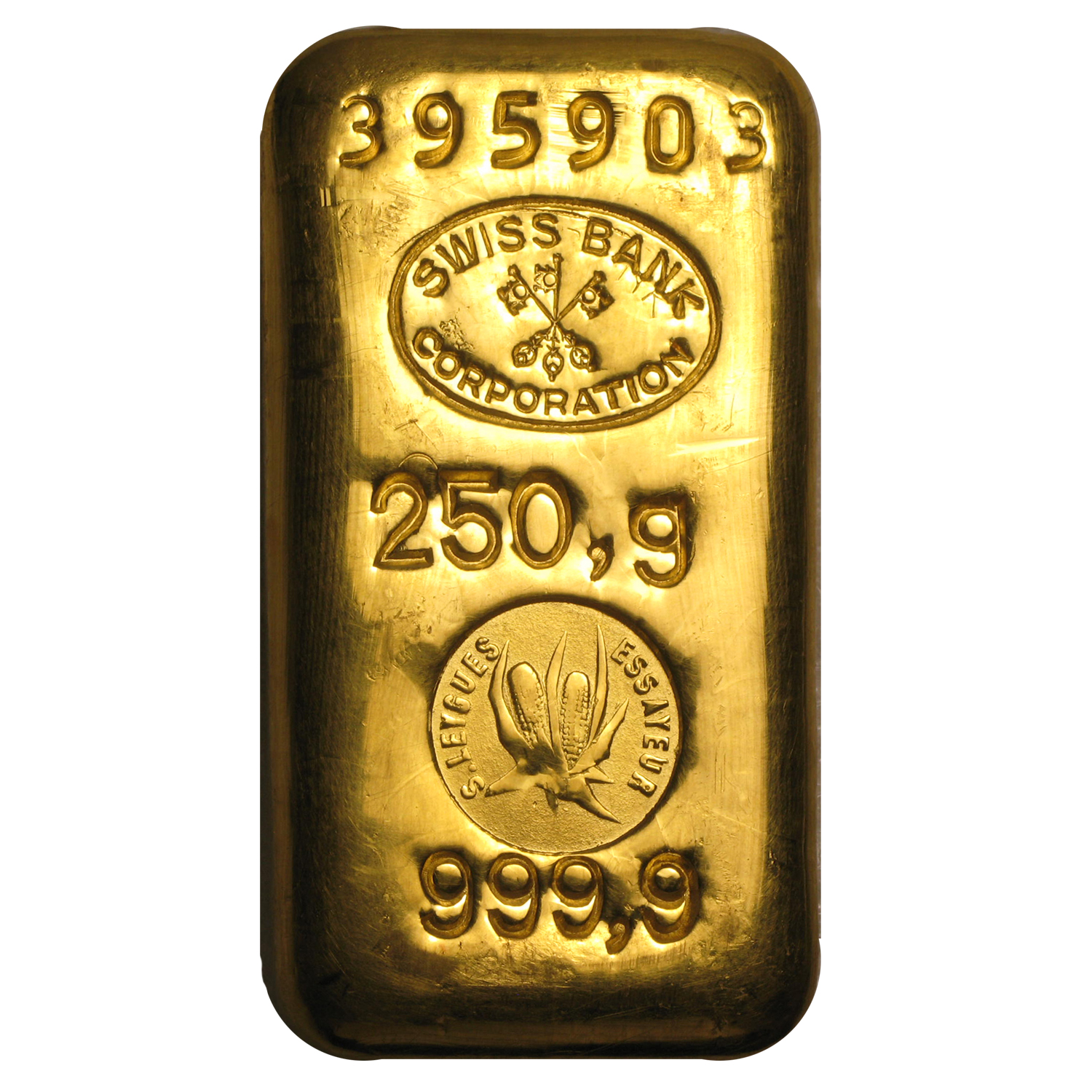 250 gram Gold Bar - Swiss Bank Corporation