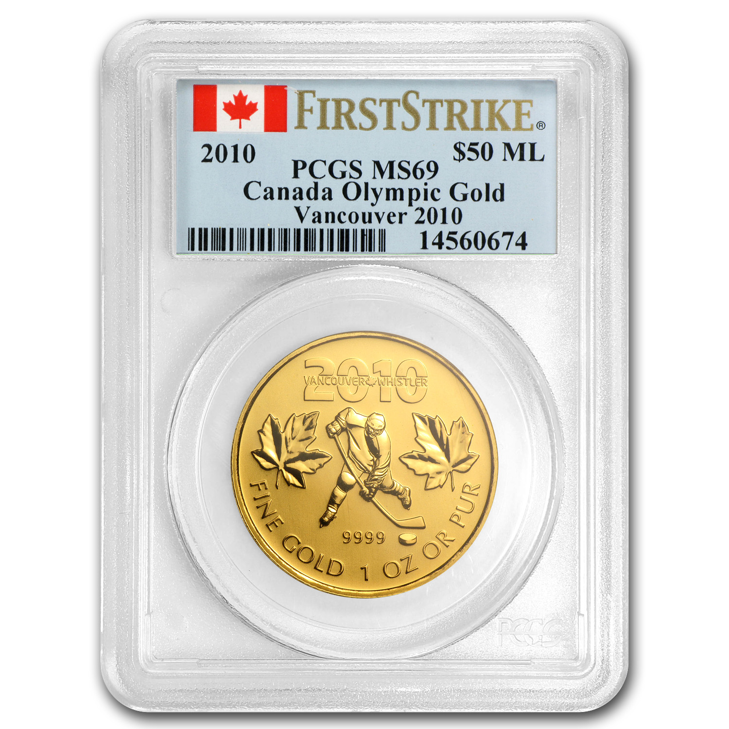 2010 1 oz Gold Canadian Maple Leaf (Vancouver) MS-69 PCGS (FS)