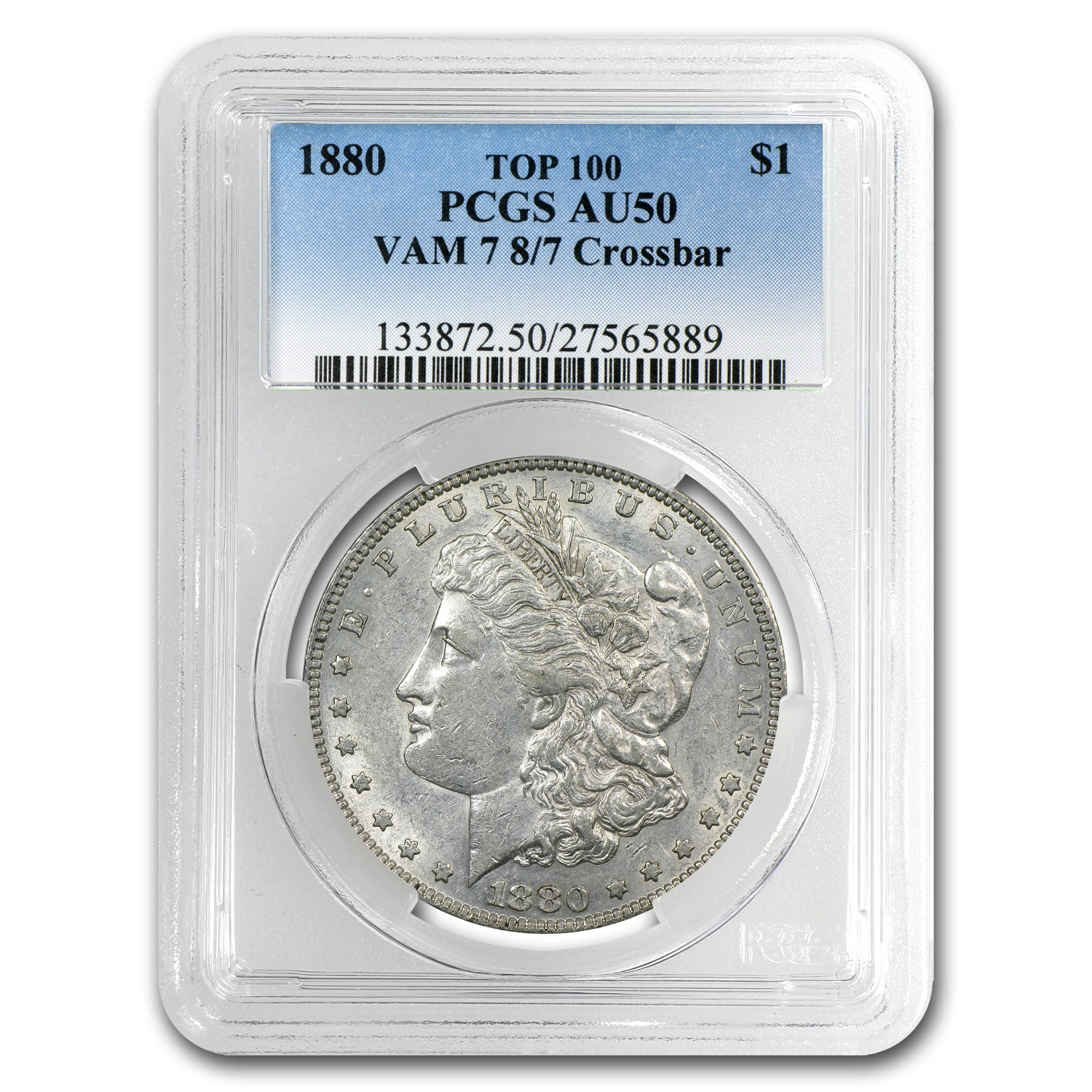 1880 Morgan Dollar AU-50 PCGS (VAM-7, 8 over 7 Crossbar)