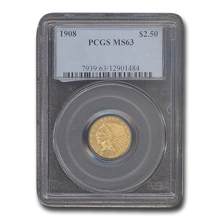 1908 $2.50 Indian Gold Quarter Eagle MS-63 PCGS