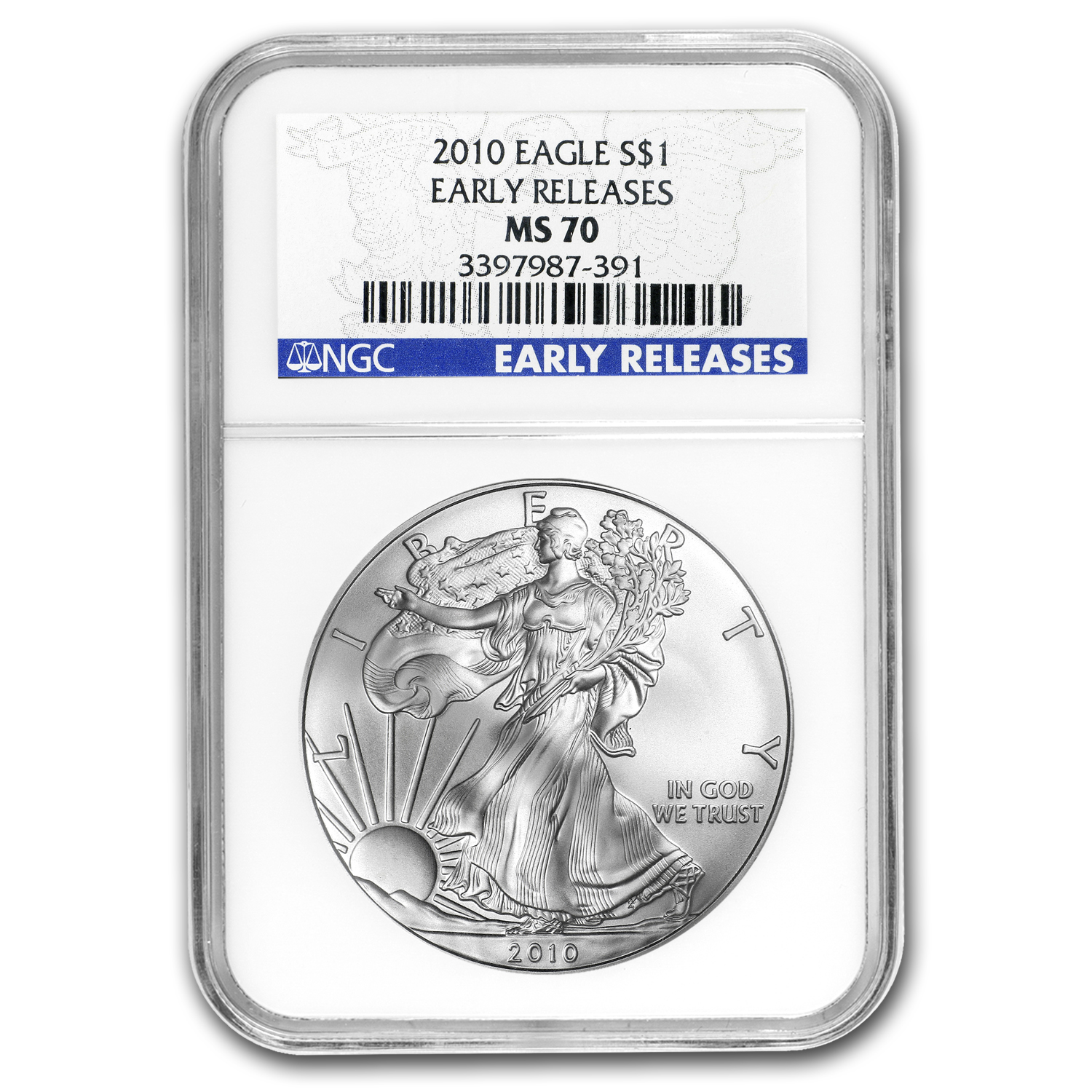 2010 Silver American Eagle - MS-70 NGC - Blue Label/Early Release