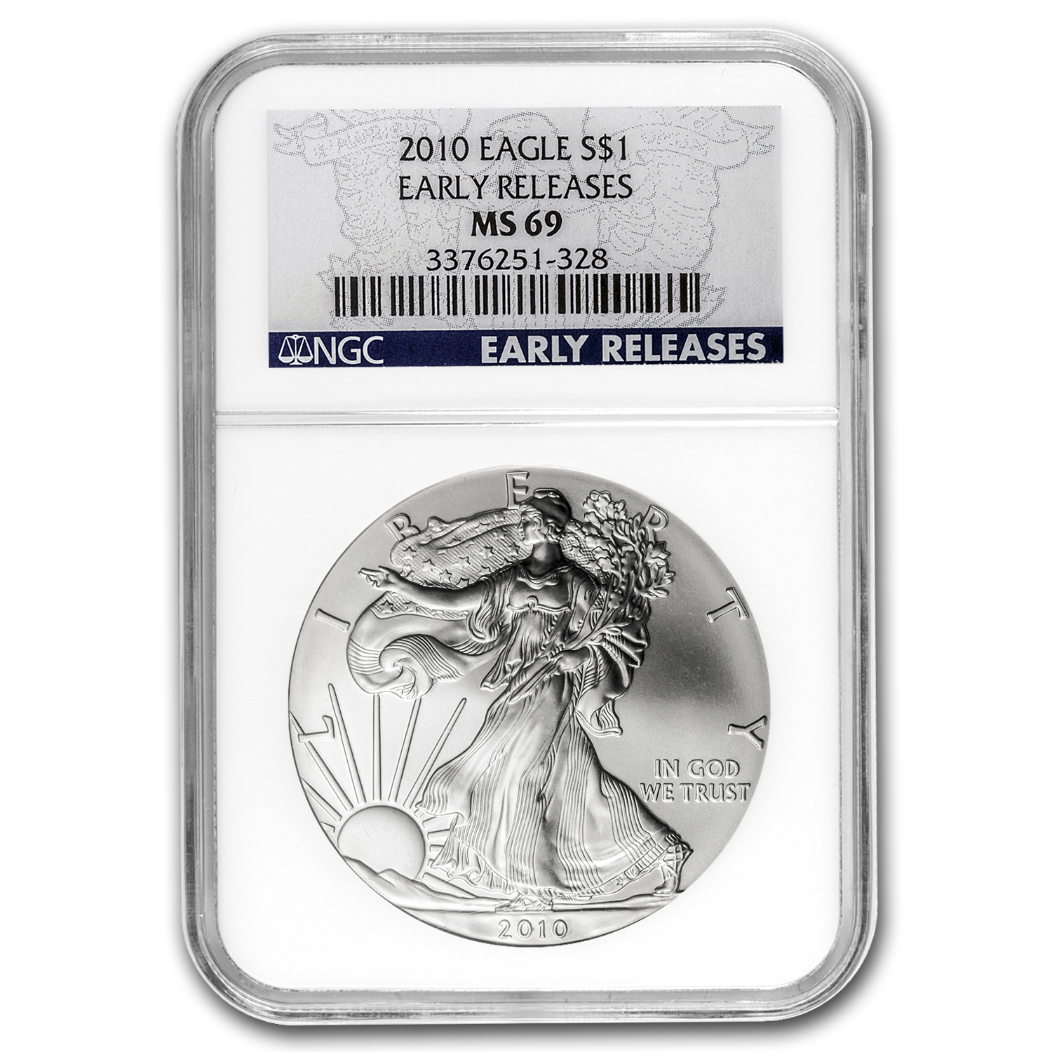 2010 Silver American Eagle MS-69 NGC (Blue Label, Early Release)