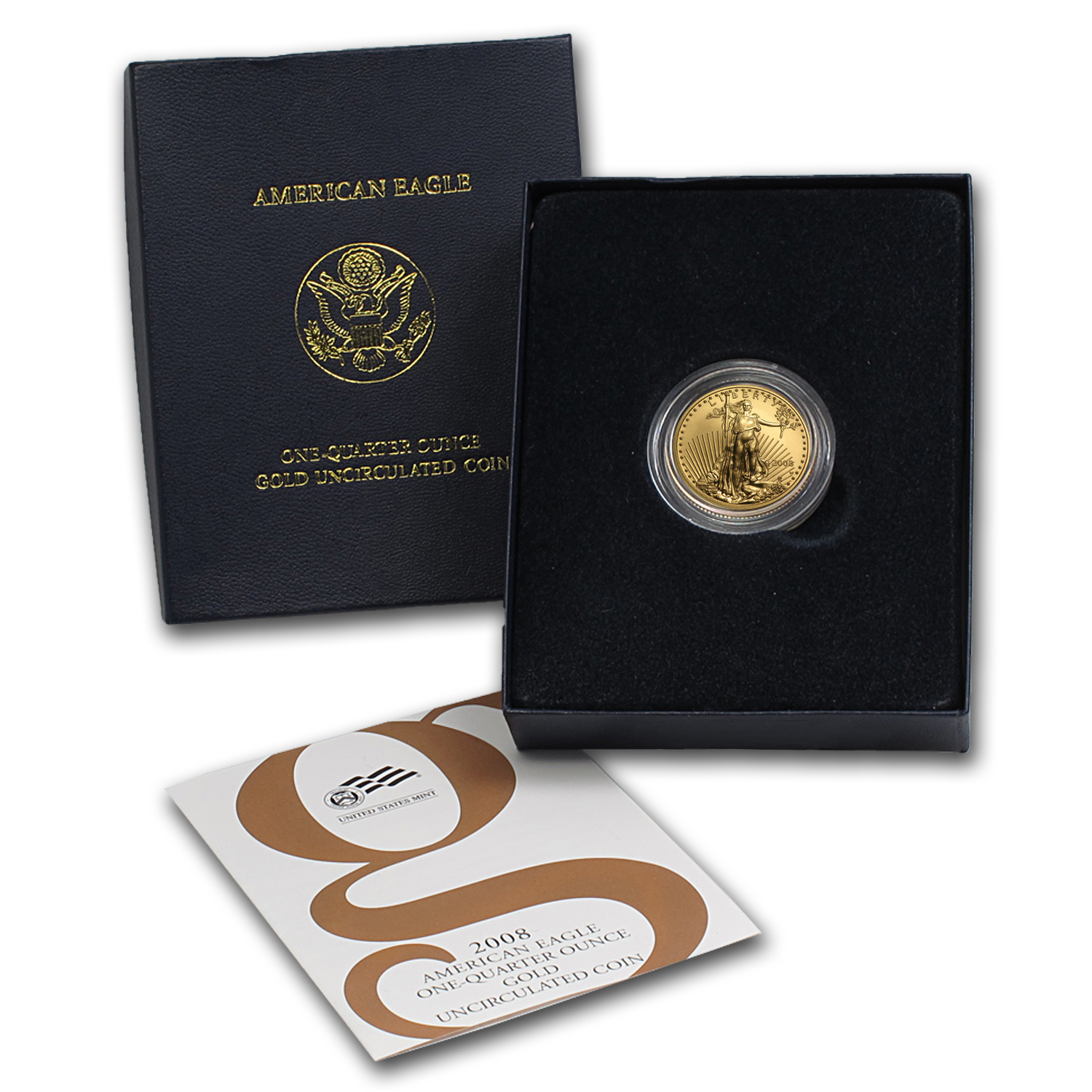 2008-W 1/4 oz Burnished Gold American Eagle (w/Box & COA)