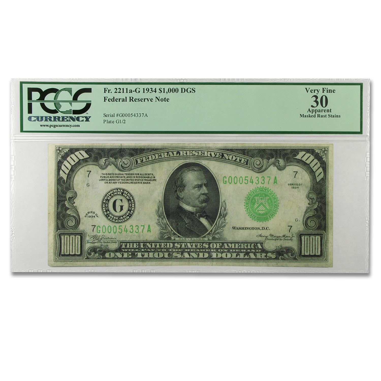 1934 (G-Chicago) $1,000 FRN VF-30 Apparent PCGS