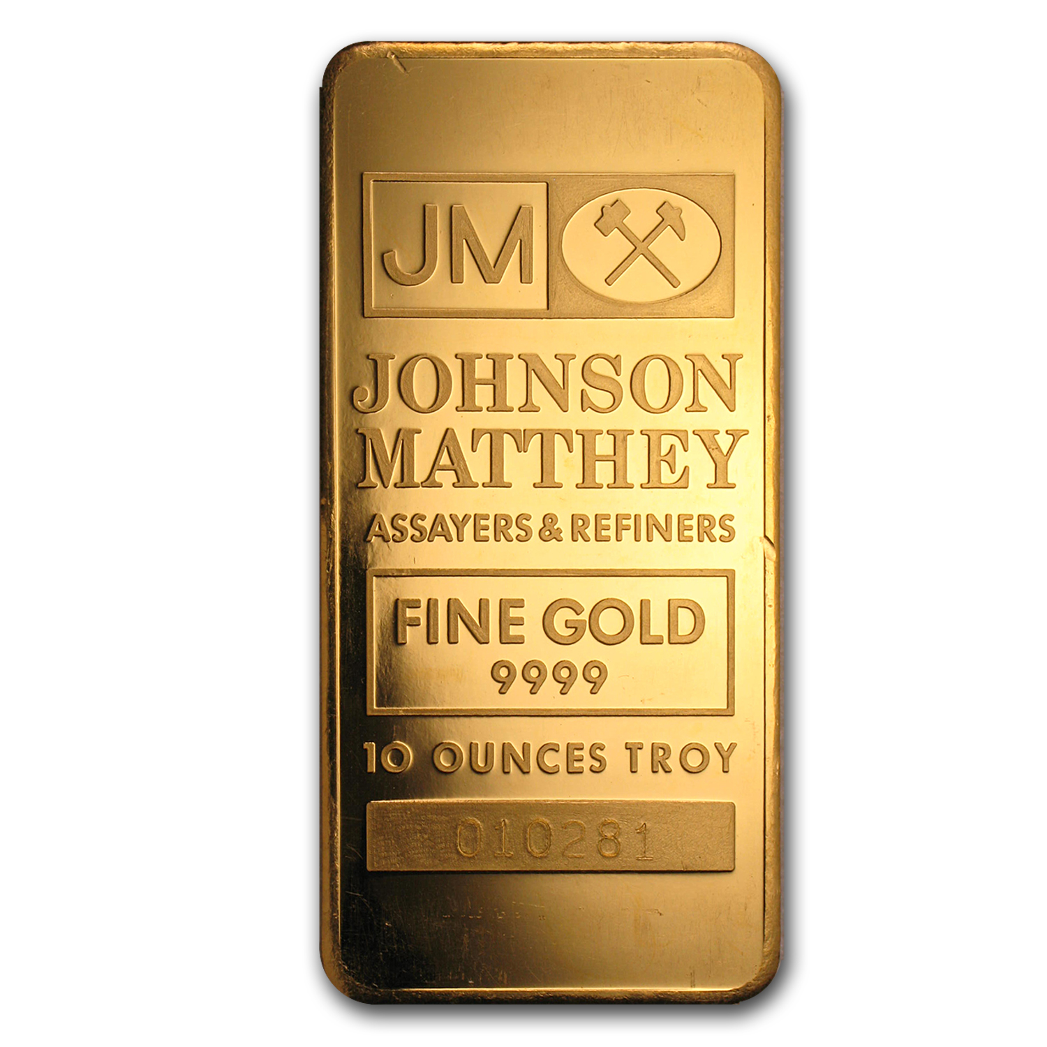 10 oz Gold Bar - Johnson Matthey (Vintage, Pressed)