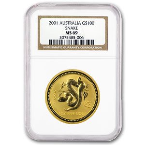 2001 1 oz Gold Year of the Snake Lunar Coin (Series I) MS-69 NGC