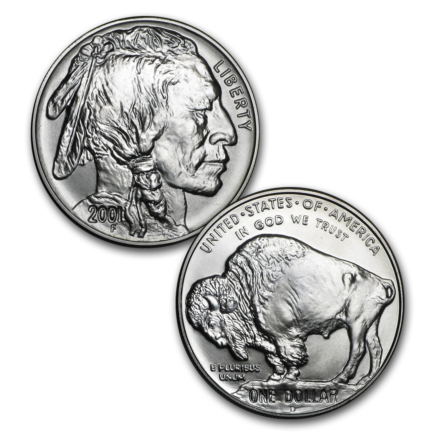 2001-P & D Buffalo Silver Commem Dollar BU & Prf Set (Box & COA)