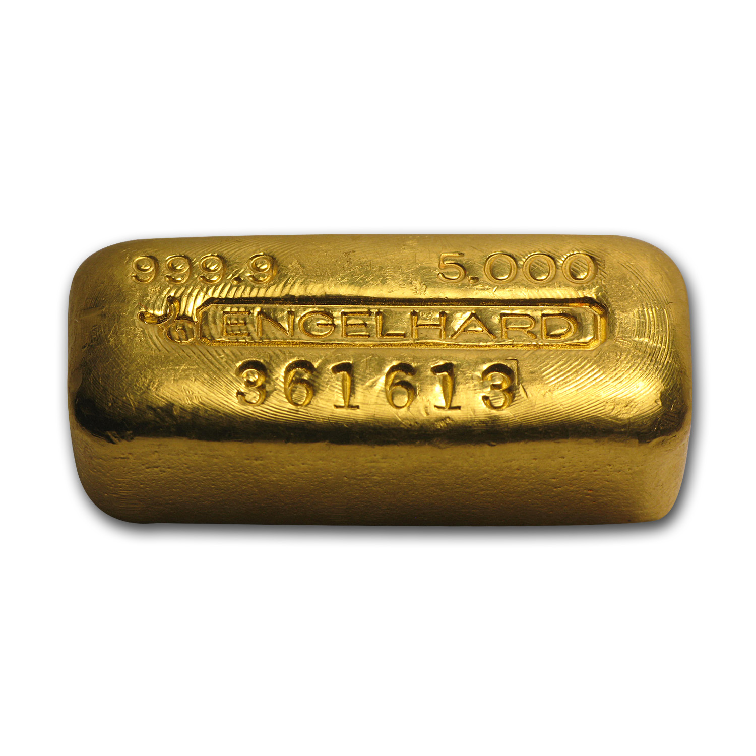 5 oz Gold Bars - Engelhard (Poured/Loaf-Style, Bull Logo)
