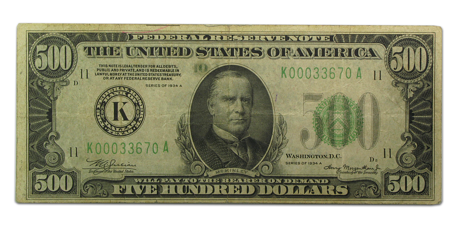 1934-A (K-Dallas) $500 FRN (Very Fine Details)