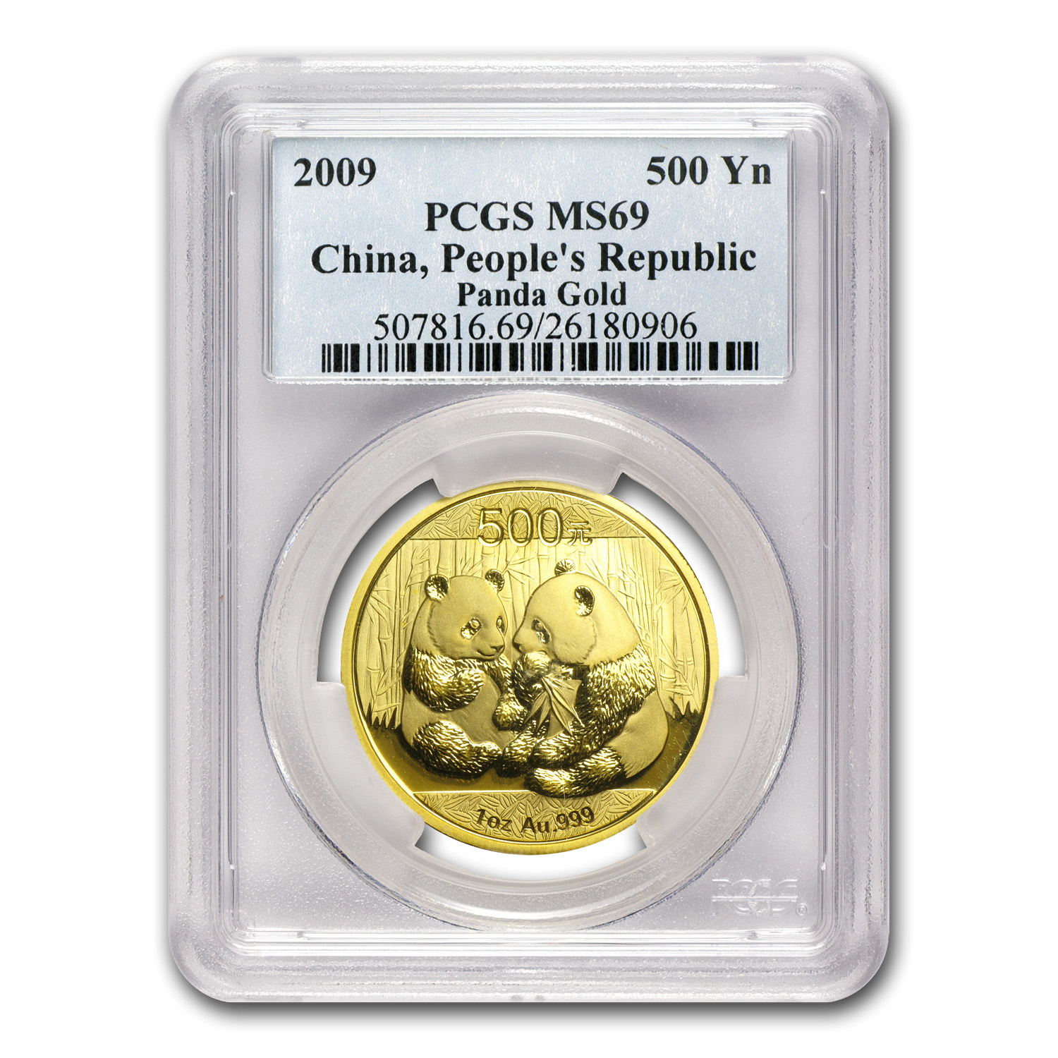 2009 China 1 oz Gold Panda MS-69 PCGS
