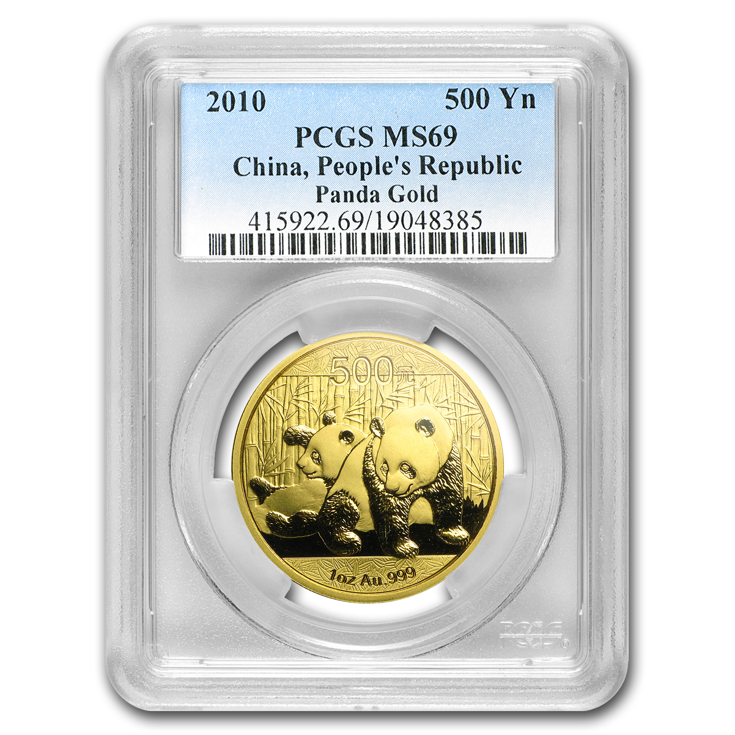2010 China 1 oz Gold Panda MS-69 PCGS