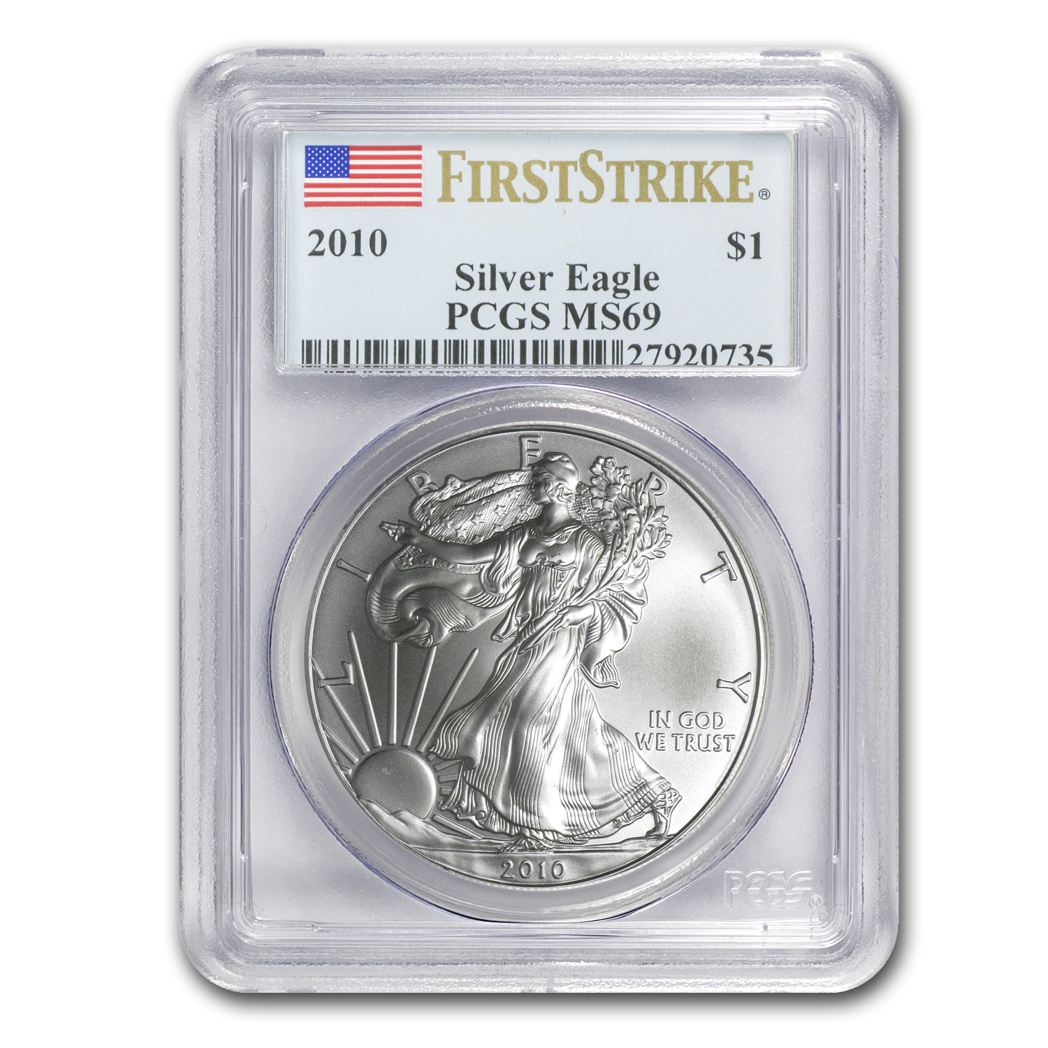 2010 Silver American Eagle MS-69 PCGS (First Strike)