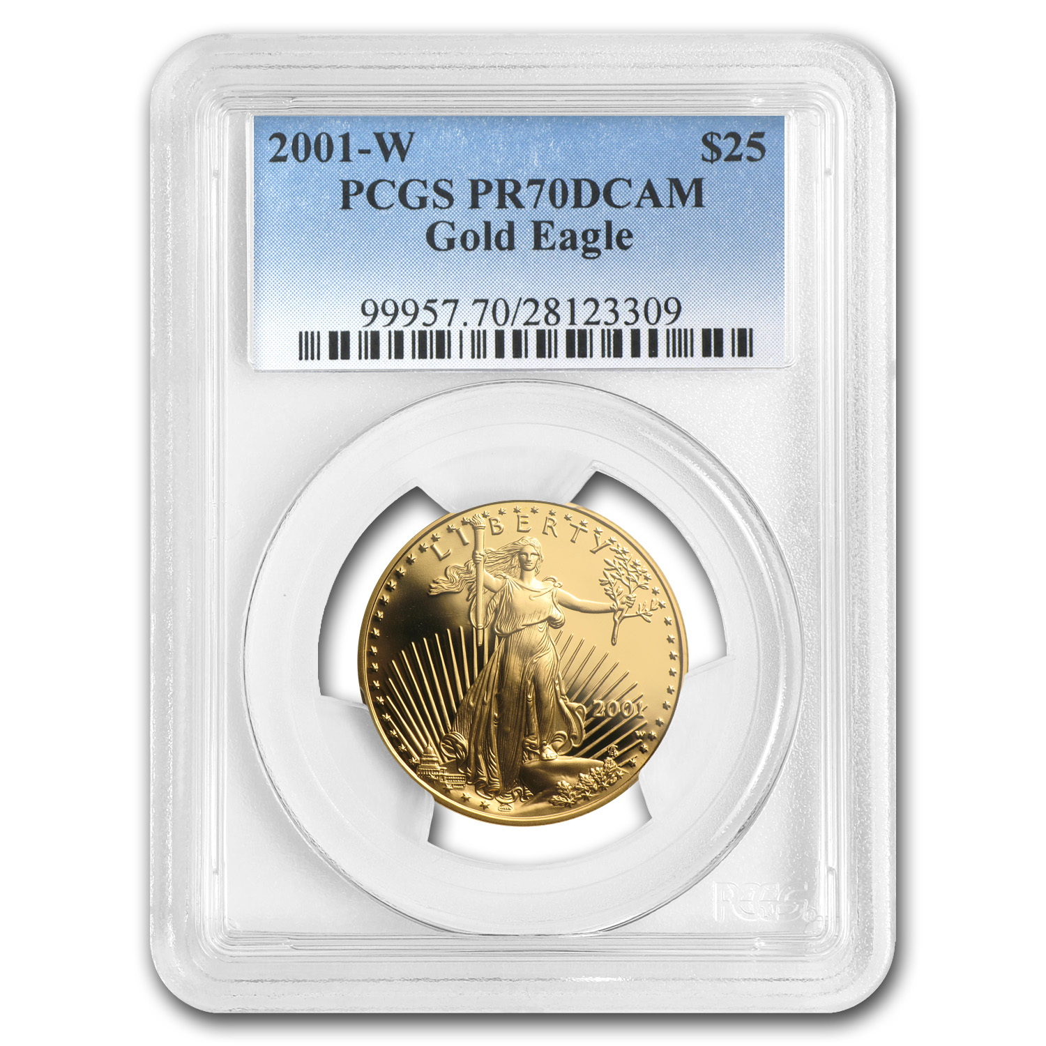 2001-W 1/2 oz Proof Gold American Eagle PR-70 PCGS