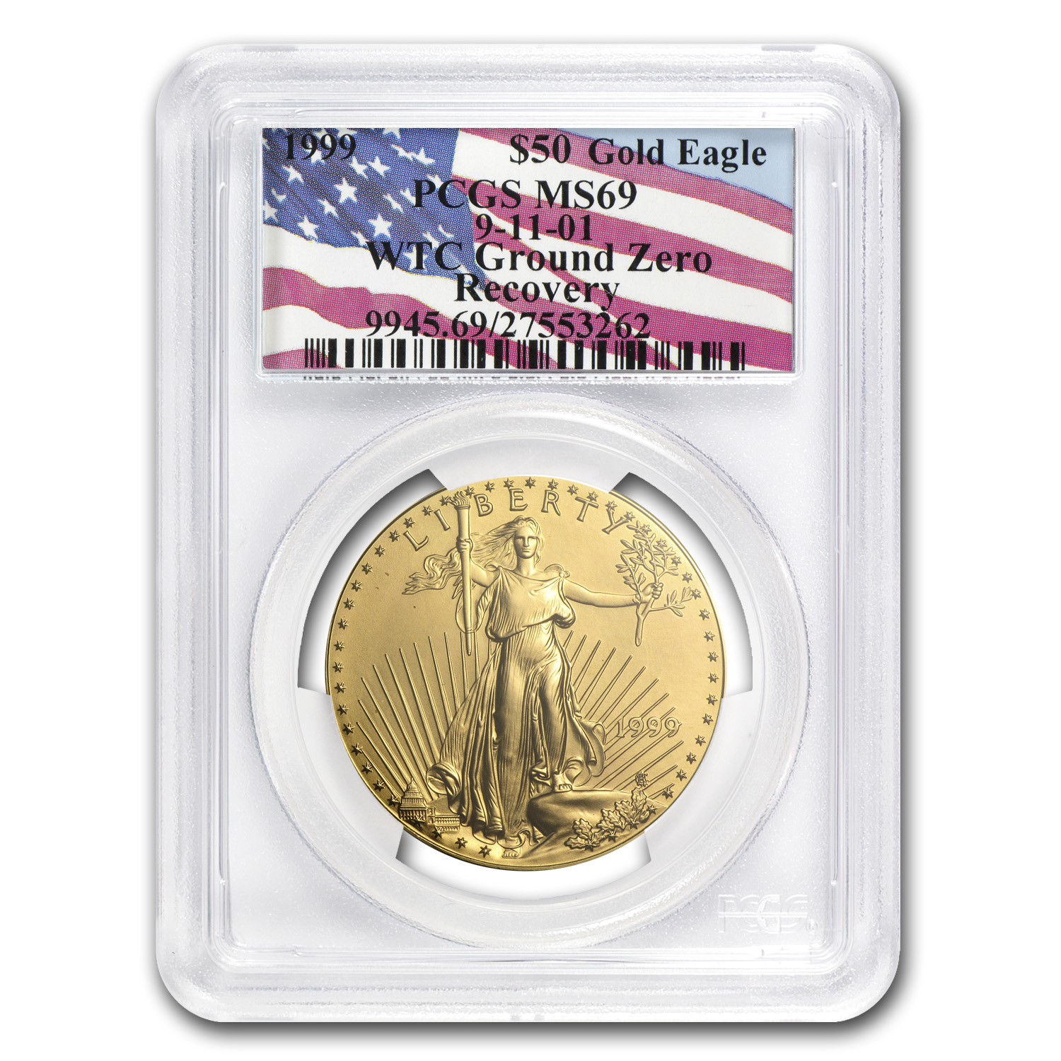 1999 1 oz Gold American Eagle MS-69 PCGS (World Trade Center)