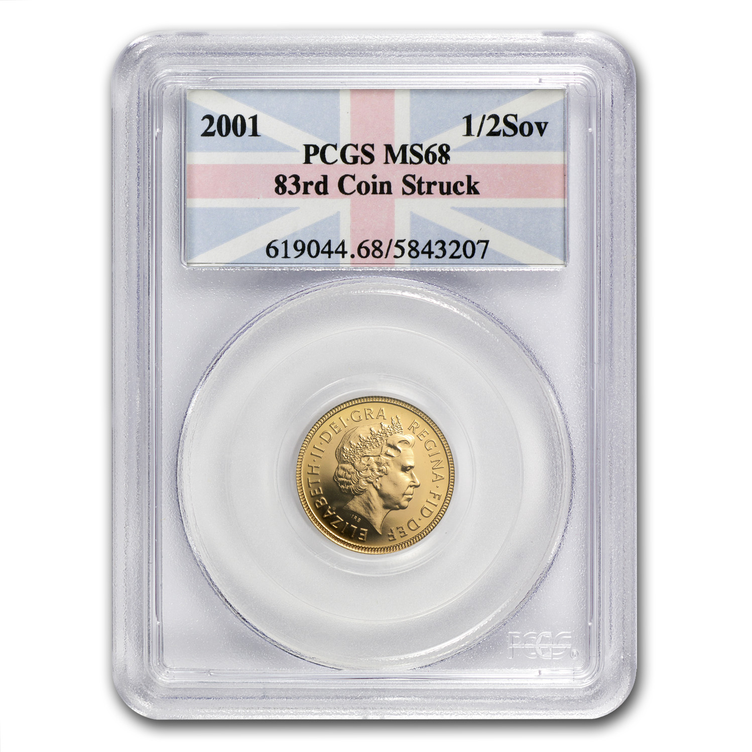 Great Britain 2001 Gold 1/2 Sovereign MS-68 PCGS