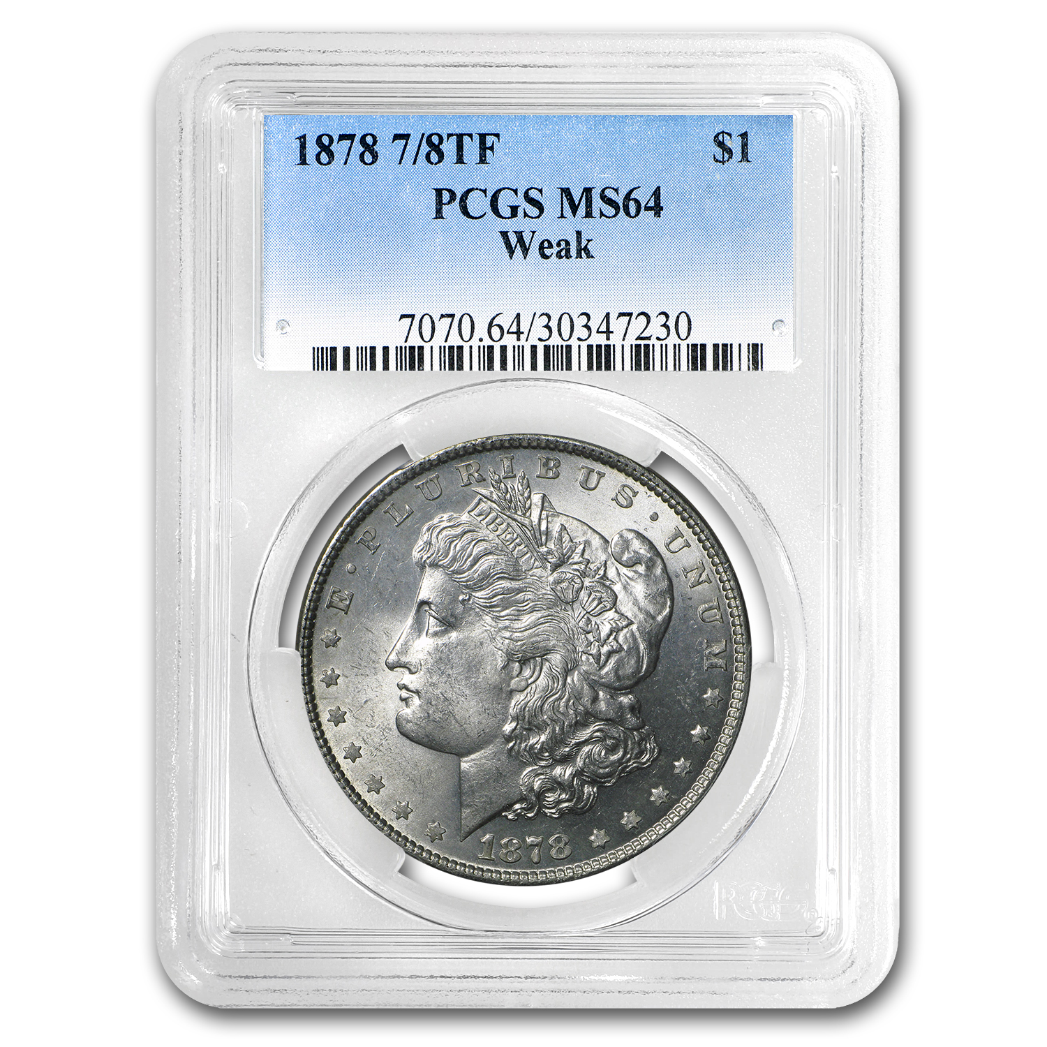 1878 Morgan Dollar 7/8 TF Weak MS-64 PCGS