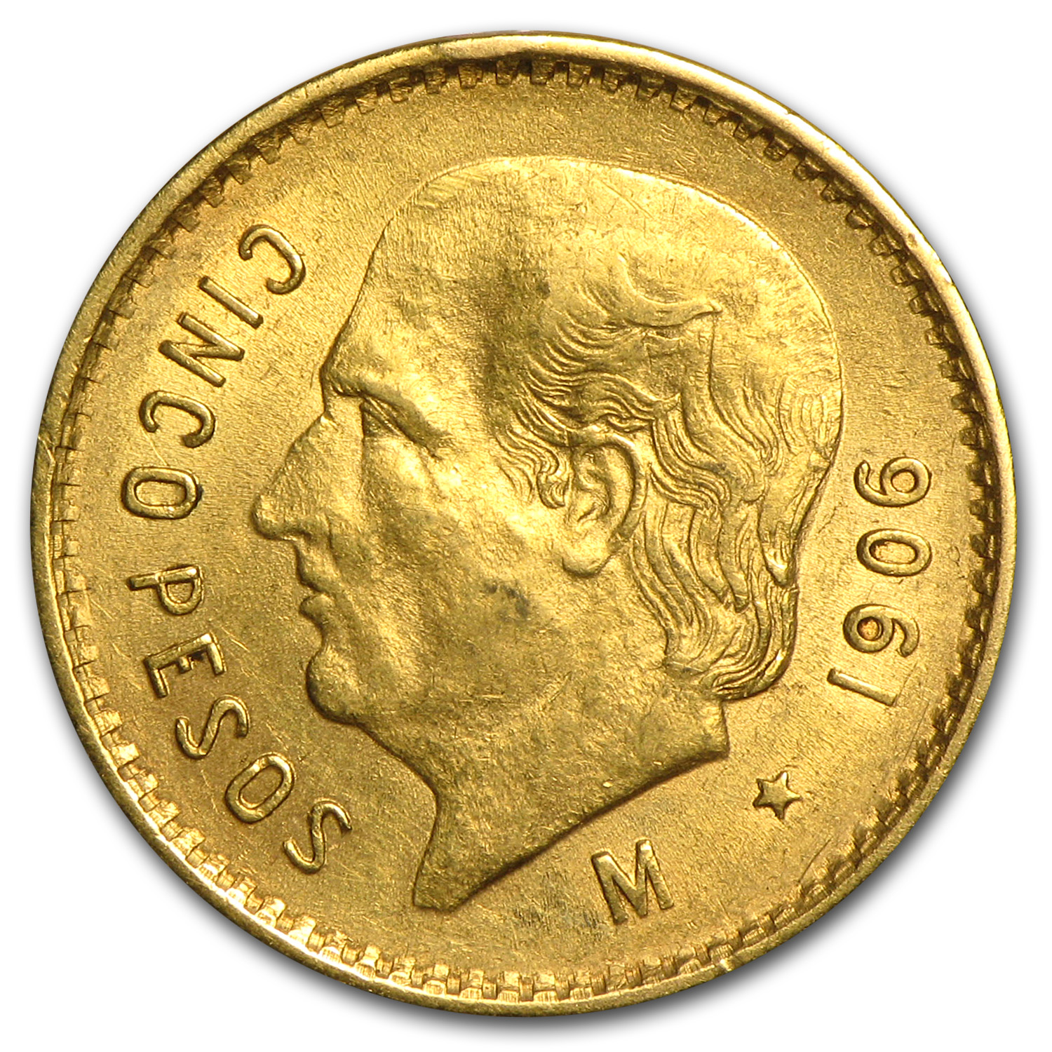1906 Mexico Gold 5 Pesos AU
