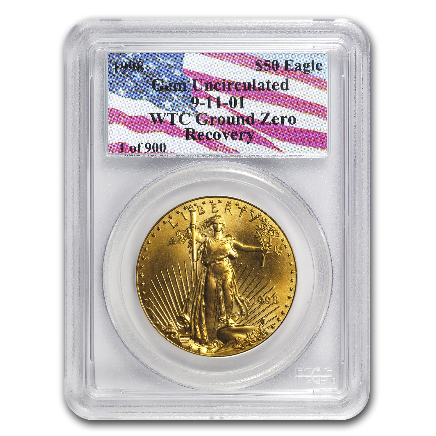 1998 1 oz Gold American Eagle Gem Unc. PCGS (World Trade Center)