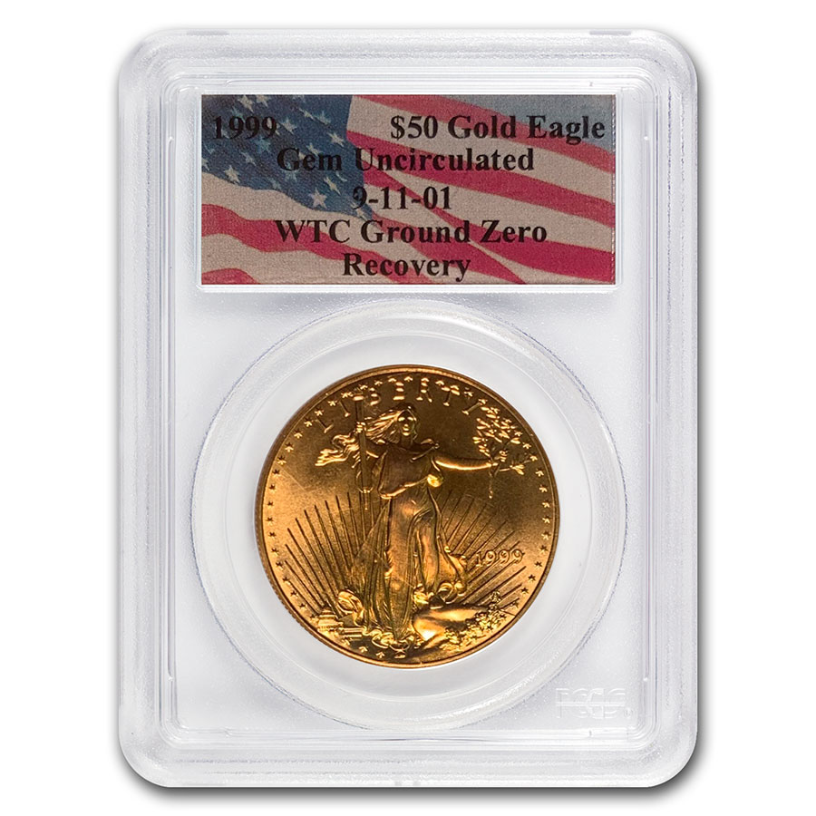 1999 1 oz Gold American Eagle Gem Unc PCGS (World Trade Center)