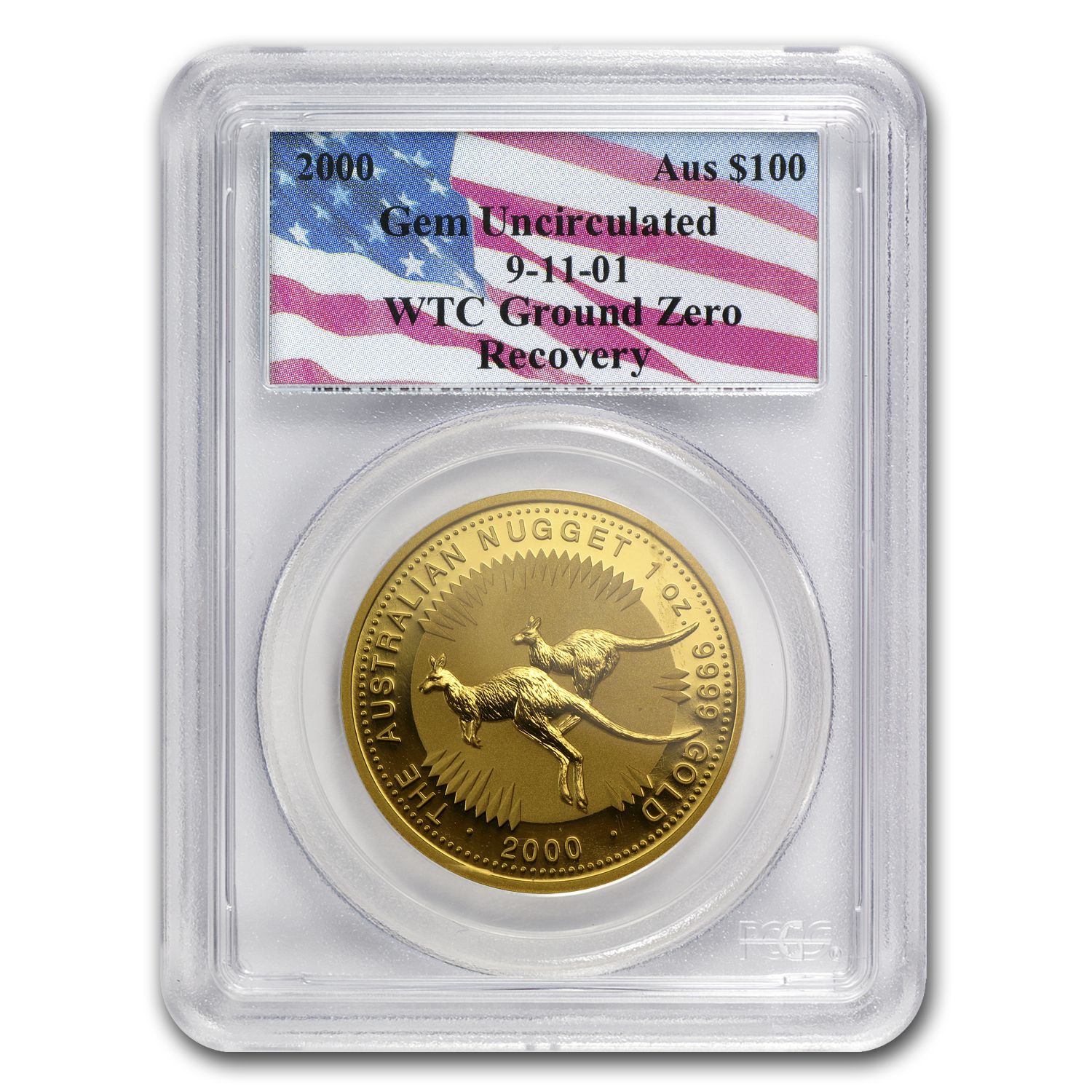 2000 1 oz Australian Gold Nugget PCGS WTC Ground Zero Gem Unc