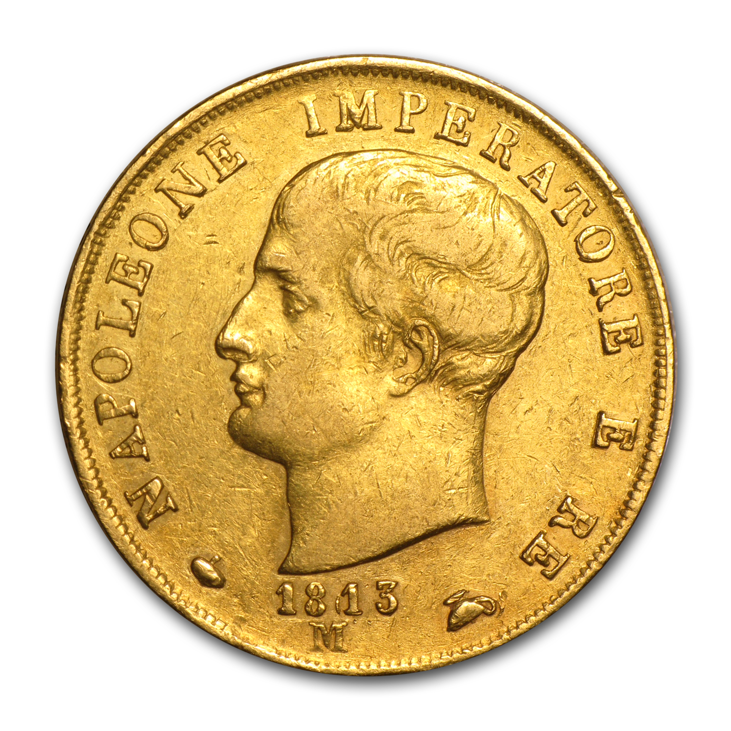 1807-1814 Kingdom of Italy Gold 40 Lire Napoleon I Avg Circ
