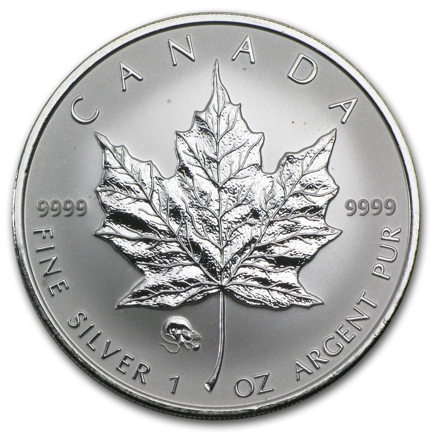 2008 1 oz Silver Canadian Maple Leaf - Lunar RAT Privy