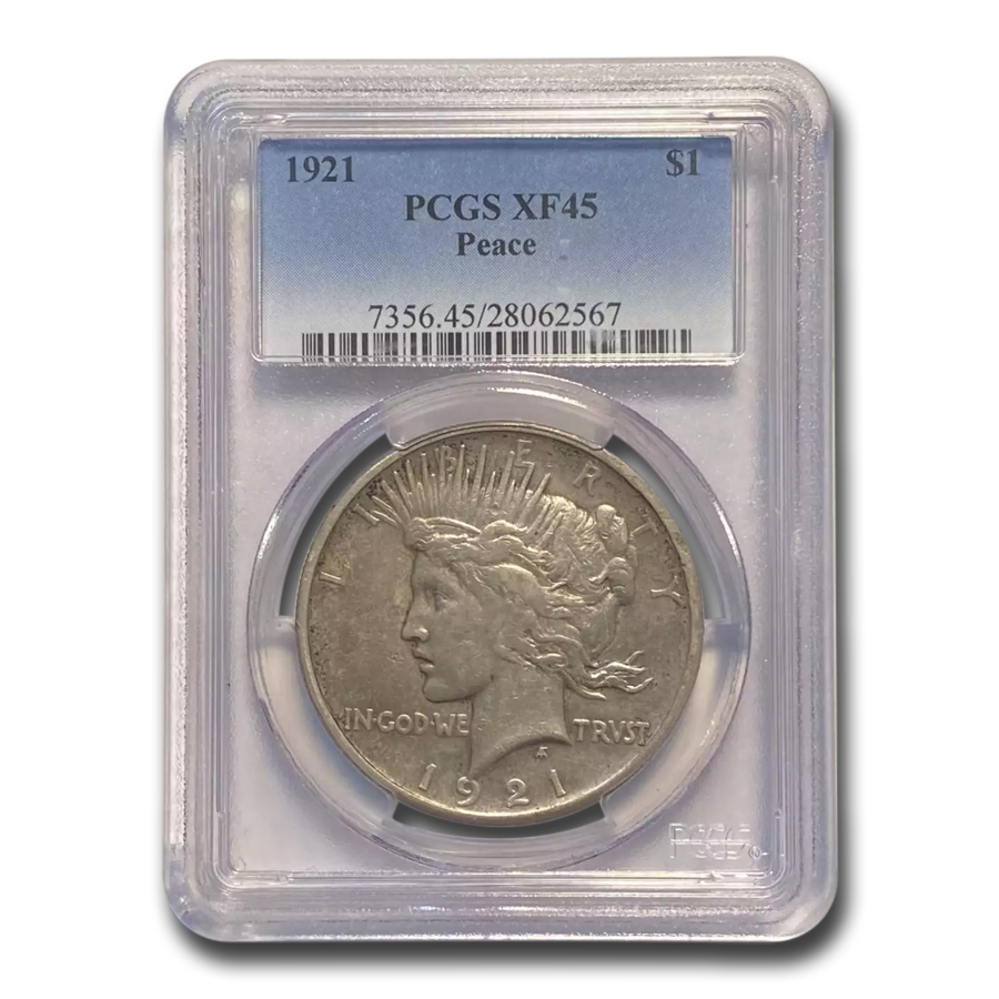 1921 Peace Dollar XF-45 PCGS
