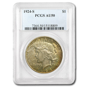 1924-S Peace Dollar Almost Uncirculated-50 PCGS