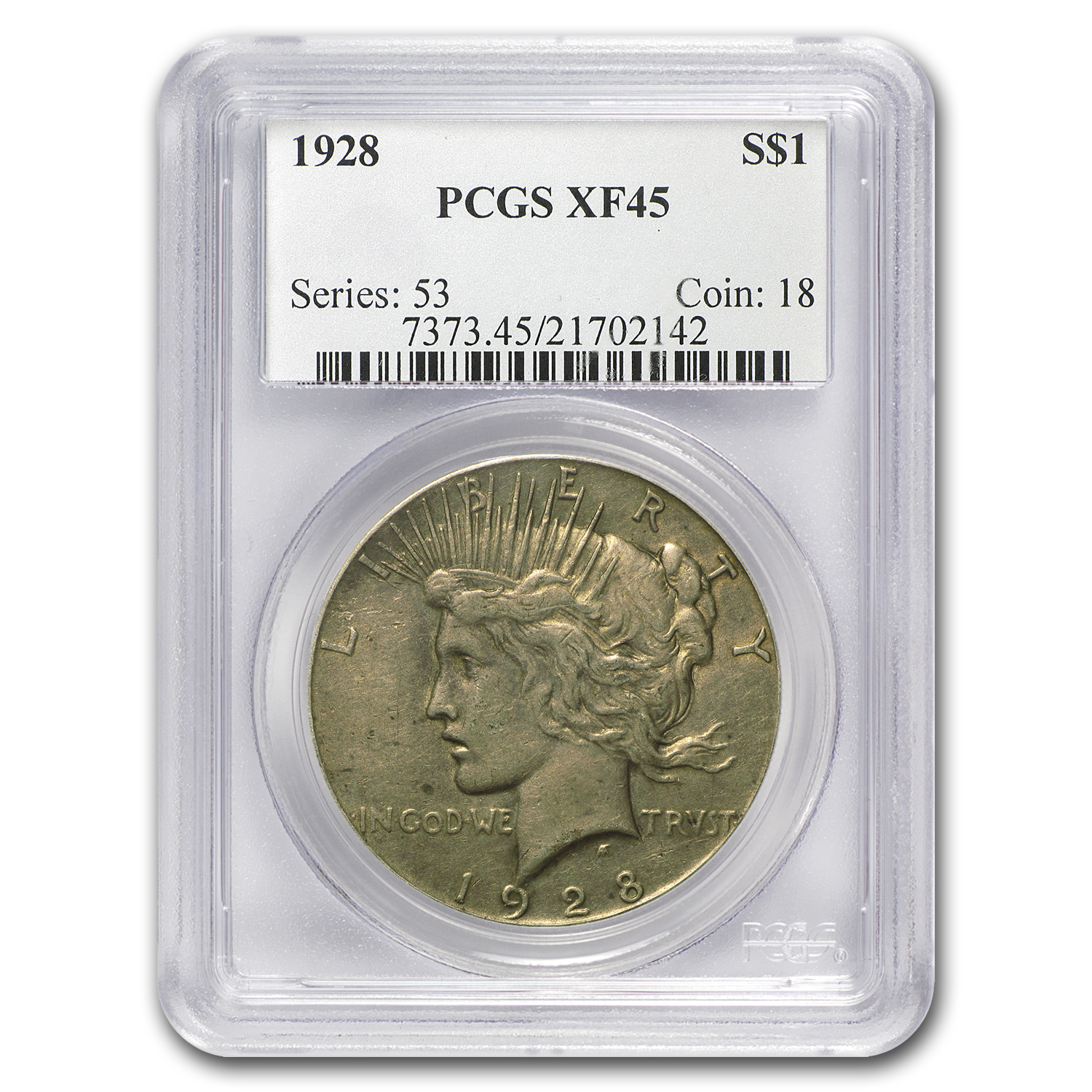 1928 Peace Dollar XF-45 PCGS (Key Date)