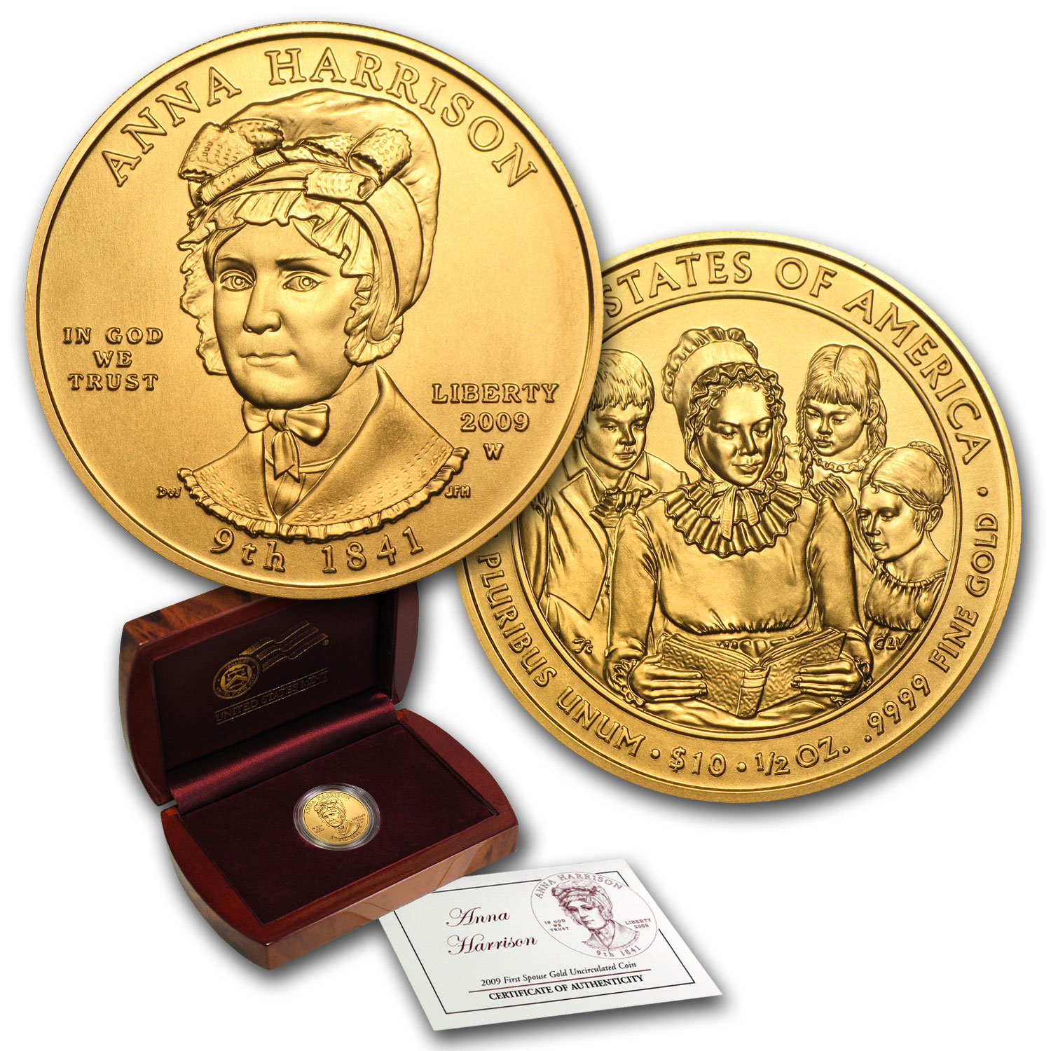 2009-W 1/2 oz Uncirculated Gold Anna Harrison (w/Box & CoA)