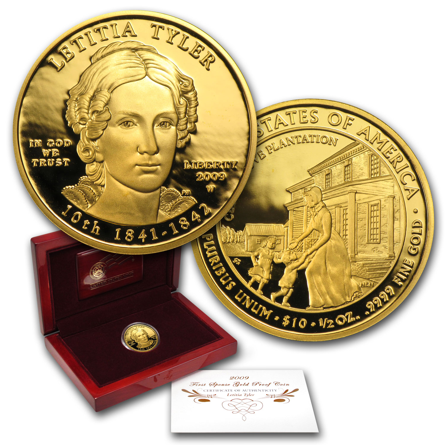 2009-W 1/2 oz Proof Gold Letitia Tyler (w/Box & COA)