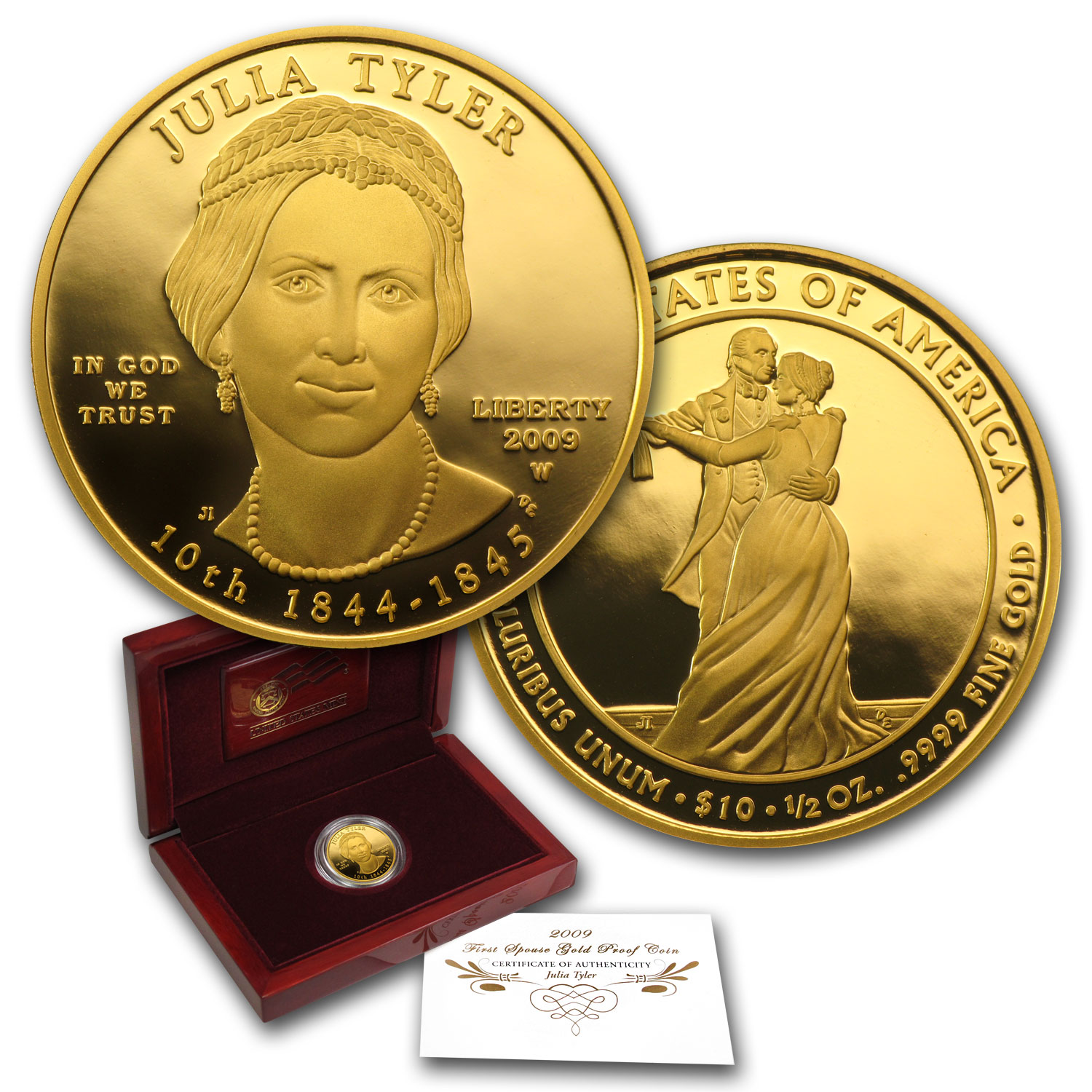 2009-W 1/2 oz Proof Gold Julia Tyler (w/Box & COA)