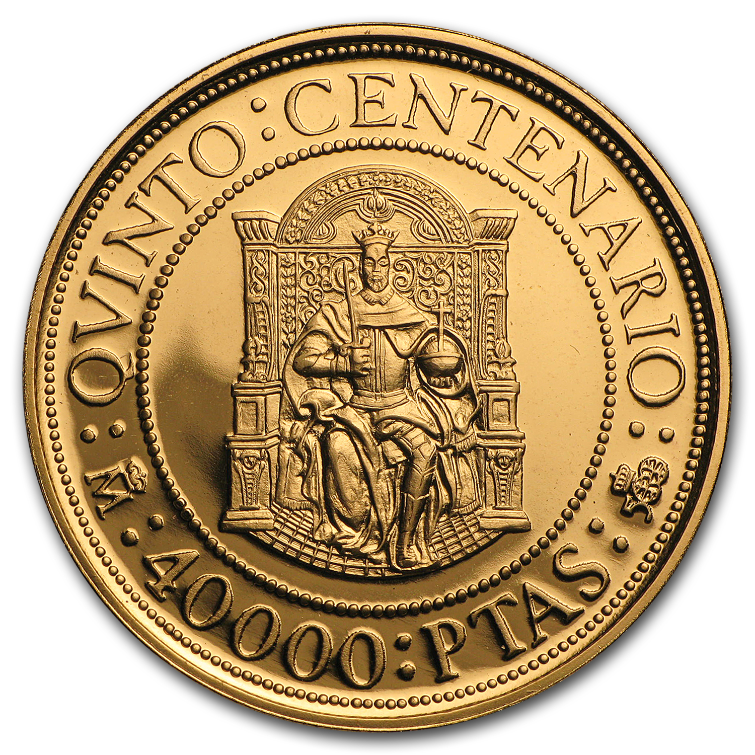 1990 Spain Proof Gold 40000 Pesetas Felipe II (Box & COA)
