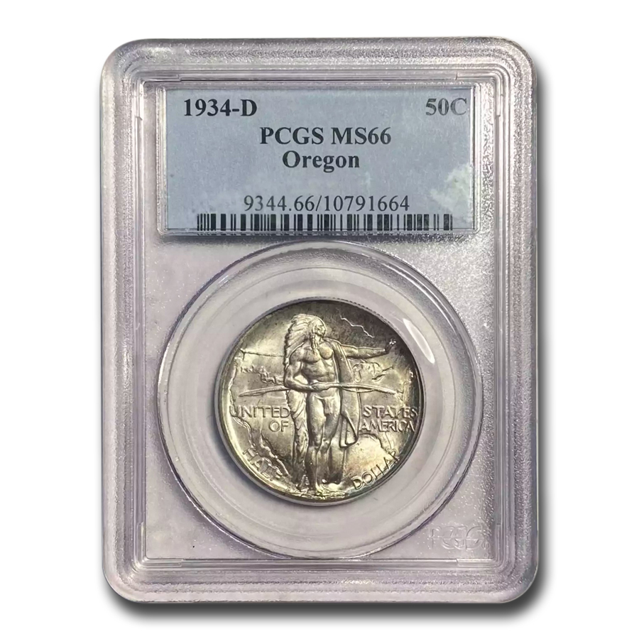 1934-D Oregon Trail Commemorative Half Dollar MS-66 PCGS