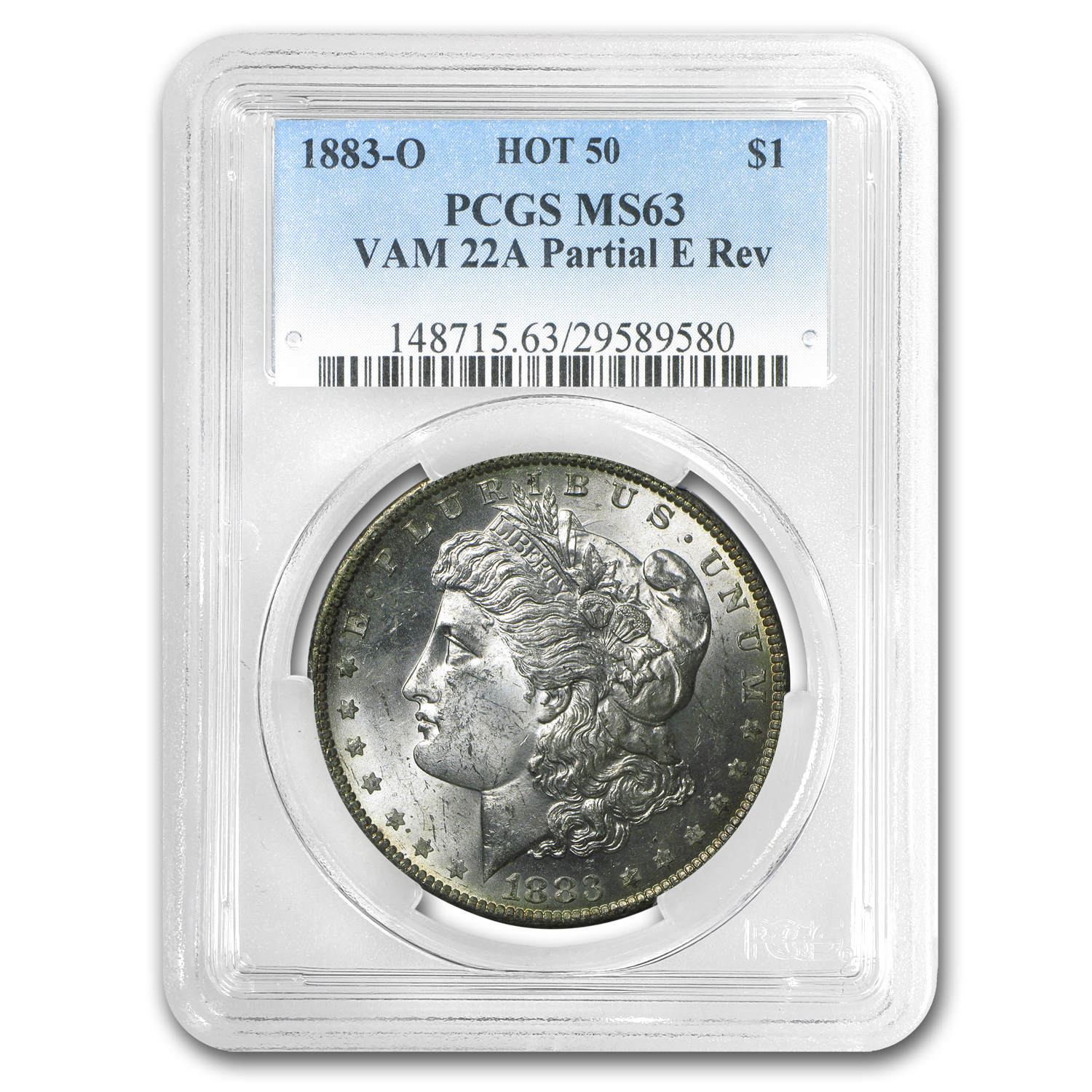 1883-O Morgan Dollar -MS-63 PCGS VAM-22A Partial E on Rev Hot-50