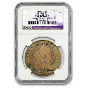 1800 Draped Bust Dollar Fine Details Cleaned NGC