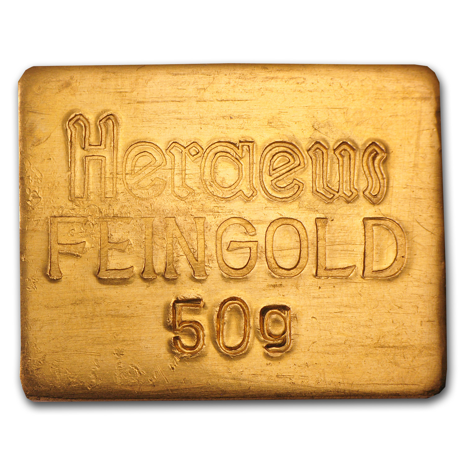 50 gram Gold Bars - Heraeus (Stamped)