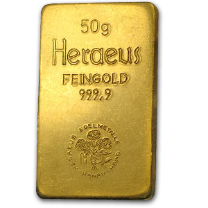 50 gram Gold Bar - Heraeus (Stamped)