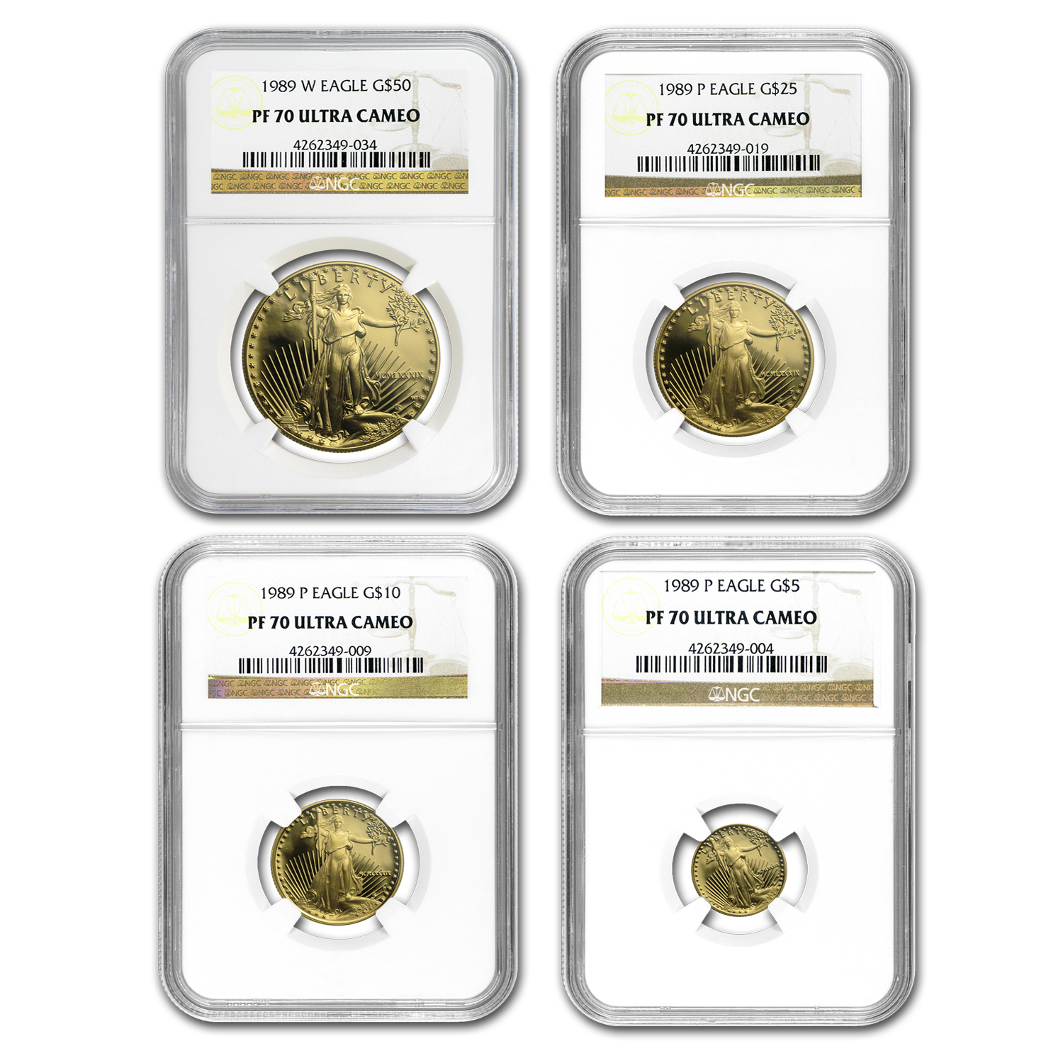 1989 4-Coin Proof Gold American Eagle Set PF-70 NGC