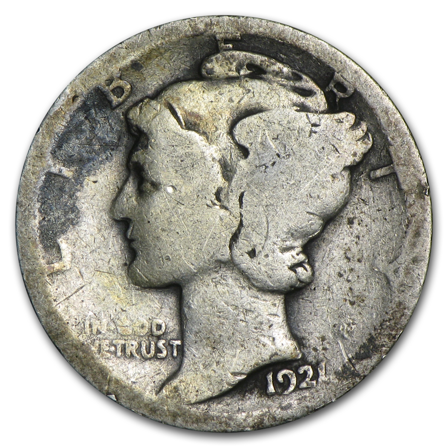 1921-D Mercury Dime - Almost Good